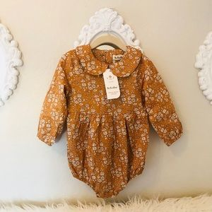Brand New Mustard Floral Baby Girl Romper 12-18 M